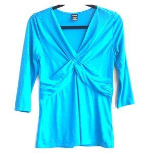 Rafaella Top Small Knot V Neck 3/4 Sleeve Blue